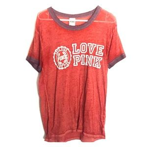 Rusty Orange Love Pink Shirt never worn